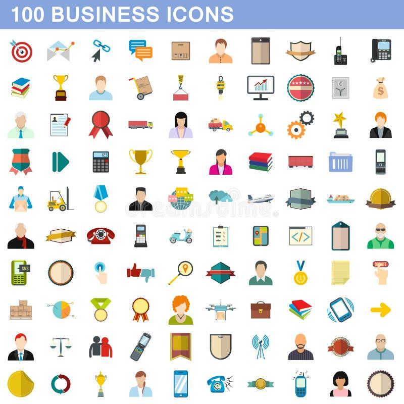 100 icônes d'affaires réglées, style plat illustration de vecteur