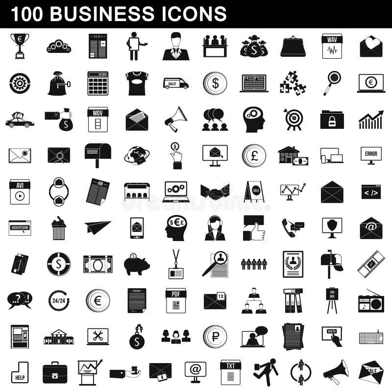 100 icônes d'affaires réglées, style simple illustration stock