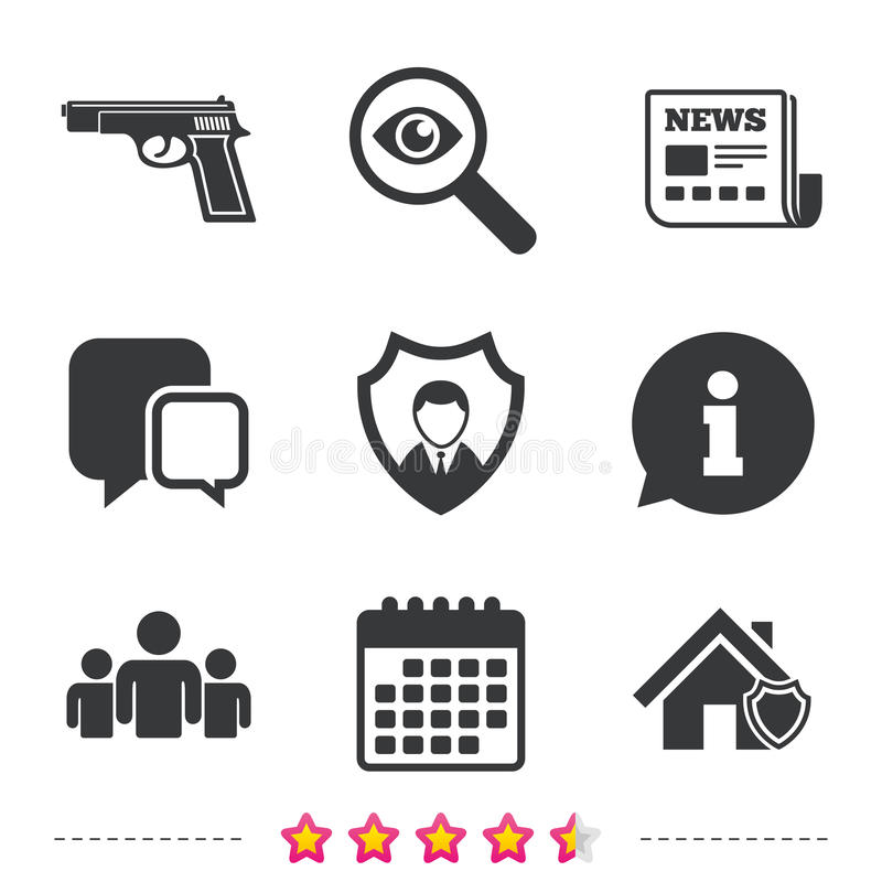 Icônes d'agence de sécurité Protection à la maison de bouclier illustration stock
