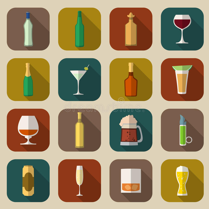 Icônes d'alcool plates illustration stock