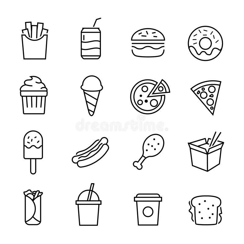 Icônes d'aliments de préparation rapide illustration stock