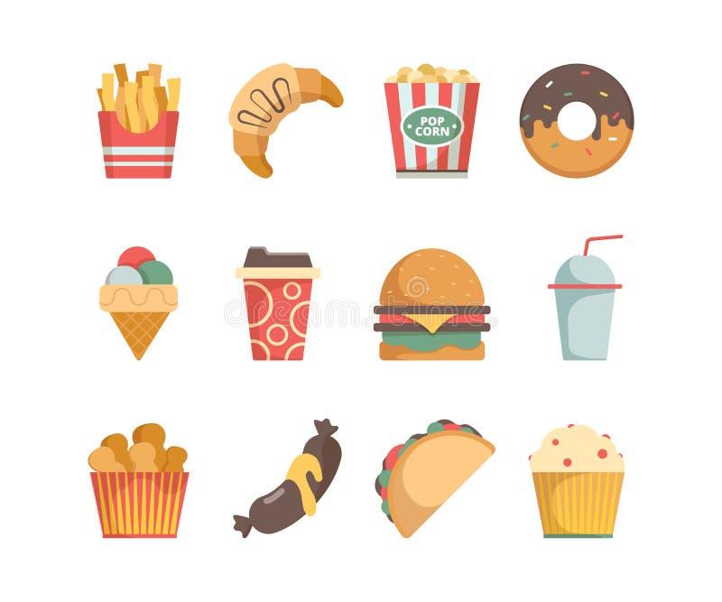 Ic?nes d'aliments de pr?paration rapide Les casse-croûte de saucisses de pizza d'hamburger serrent les images plates de vecteur d illustration stock