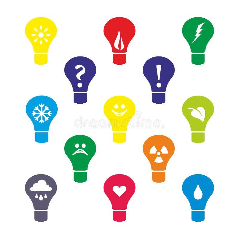 Icônes d'ampoule photos stock