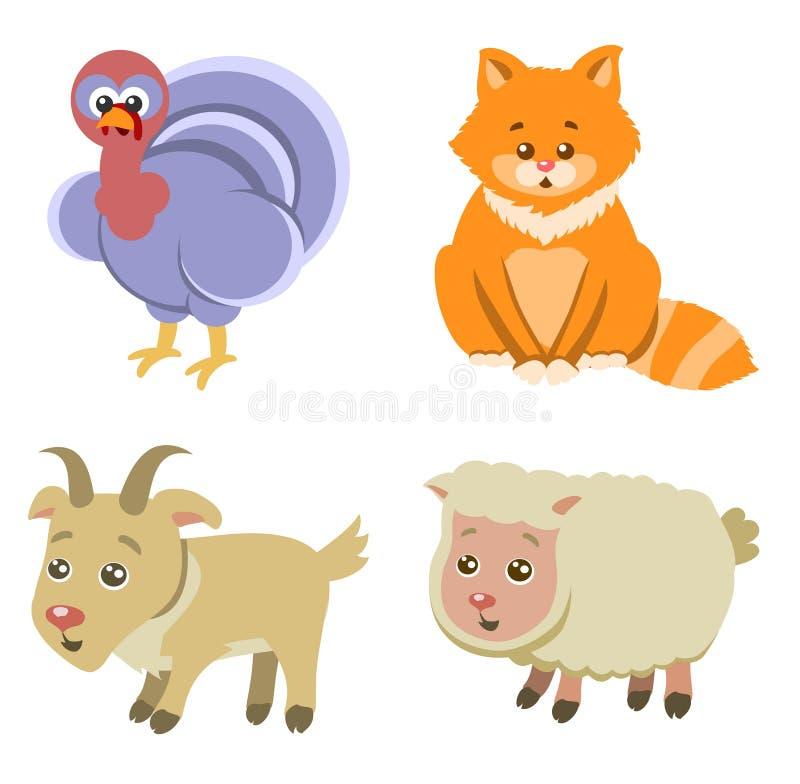 Icônes d'animaux de ferme sur le fond blanc dans le style plat illustration de vecteur