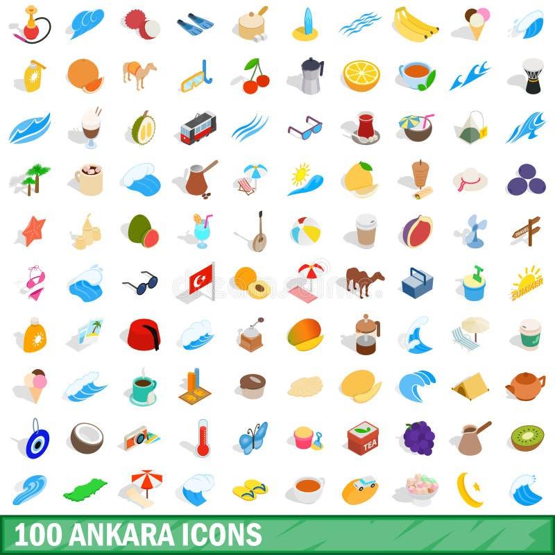 100 icônes d'Ankara réglées, style 3d isométrique illustration libre de droits