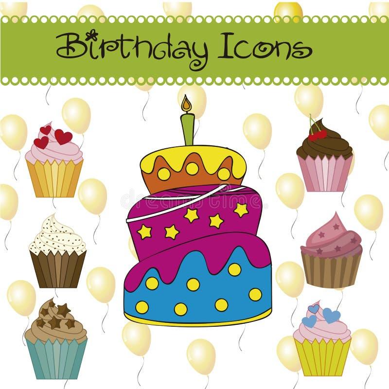 Icônes d'anniversaire illustration libre de droits