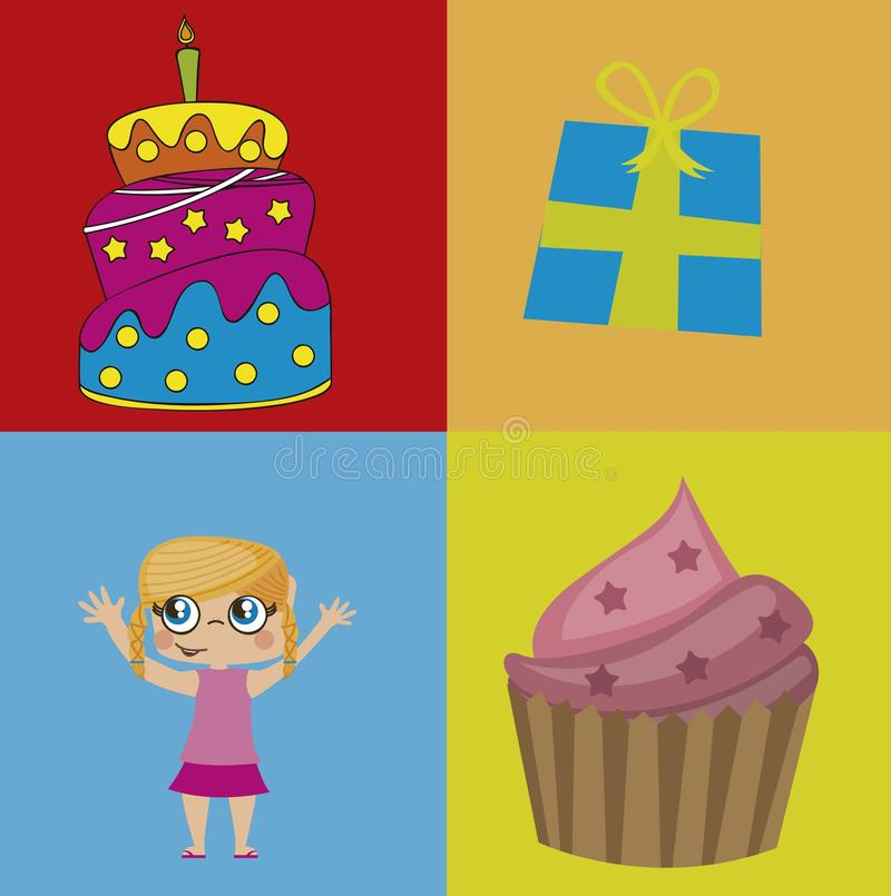 Icônes d'anniversaire illustration stock