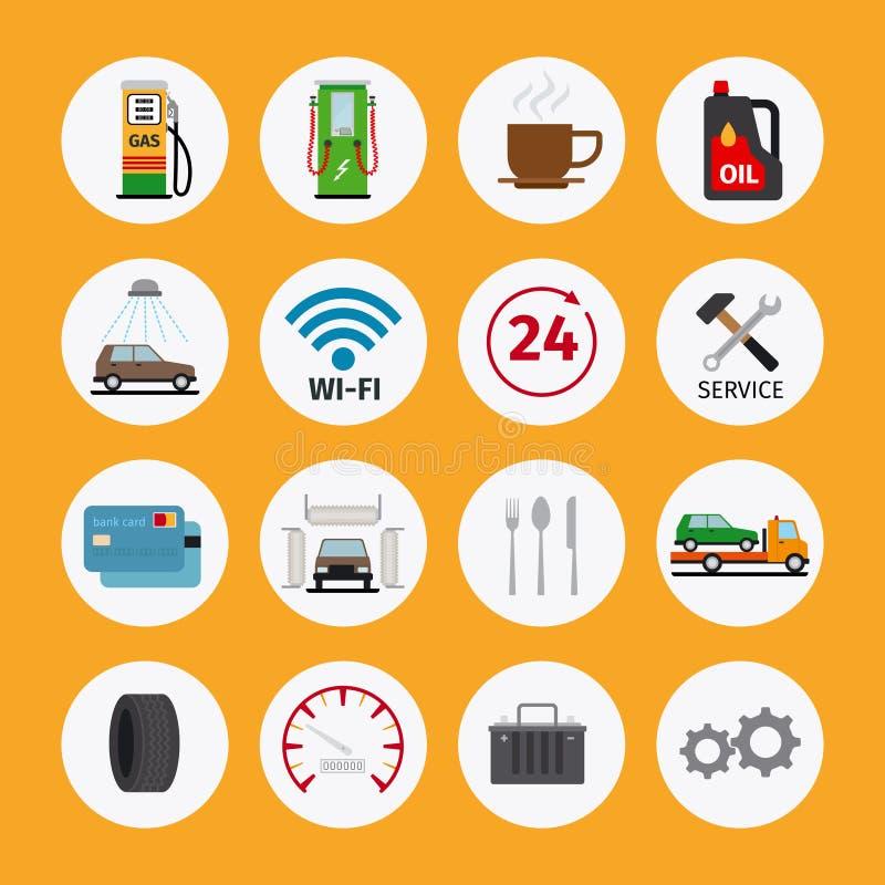 Icônes d'appartement service compris de voiture illustration libre de droits