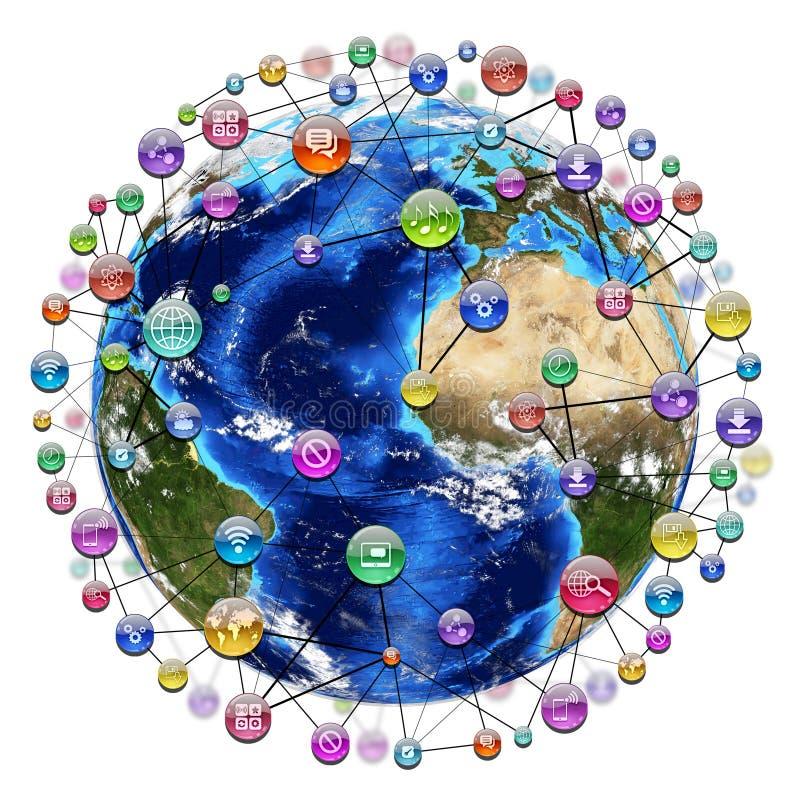 Icônes d'application autour de la terre illustration de vecteur