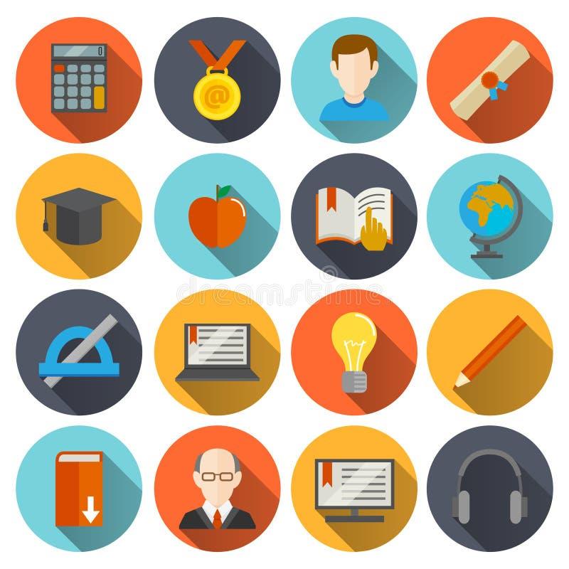 Icônes d'apprentissage en ligne plates illustration stock