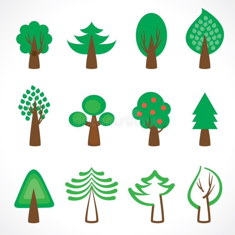 Icônes d'arbre illustration stock