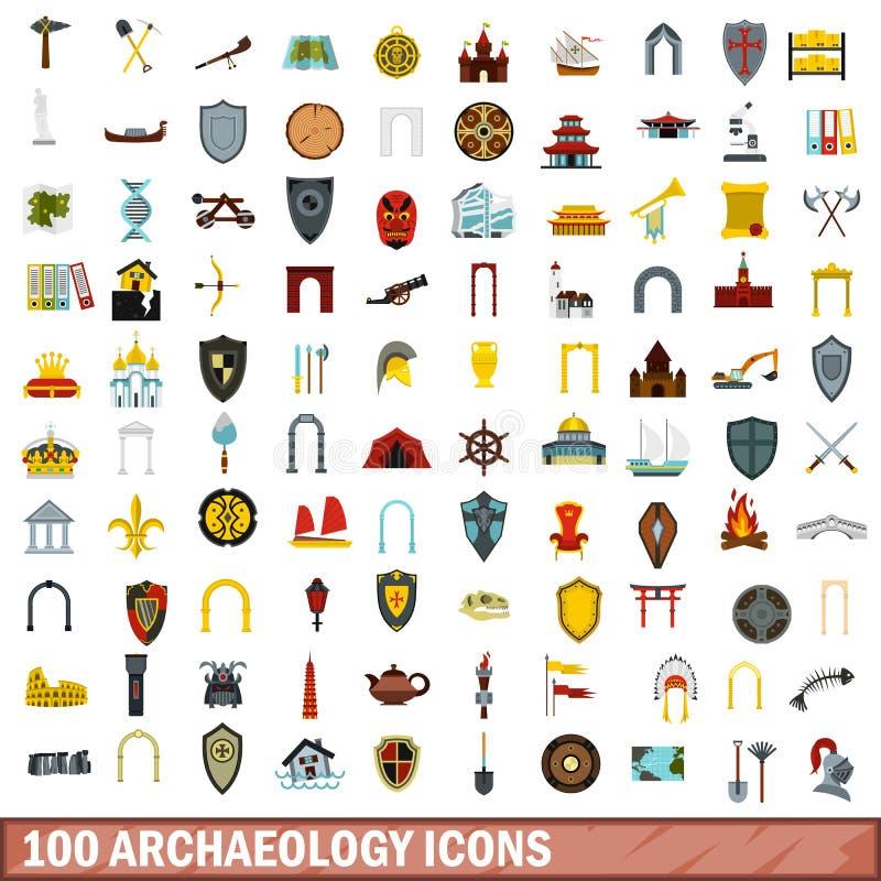 100 icônes d'archéologie réglées, style plat illustration libre de droits