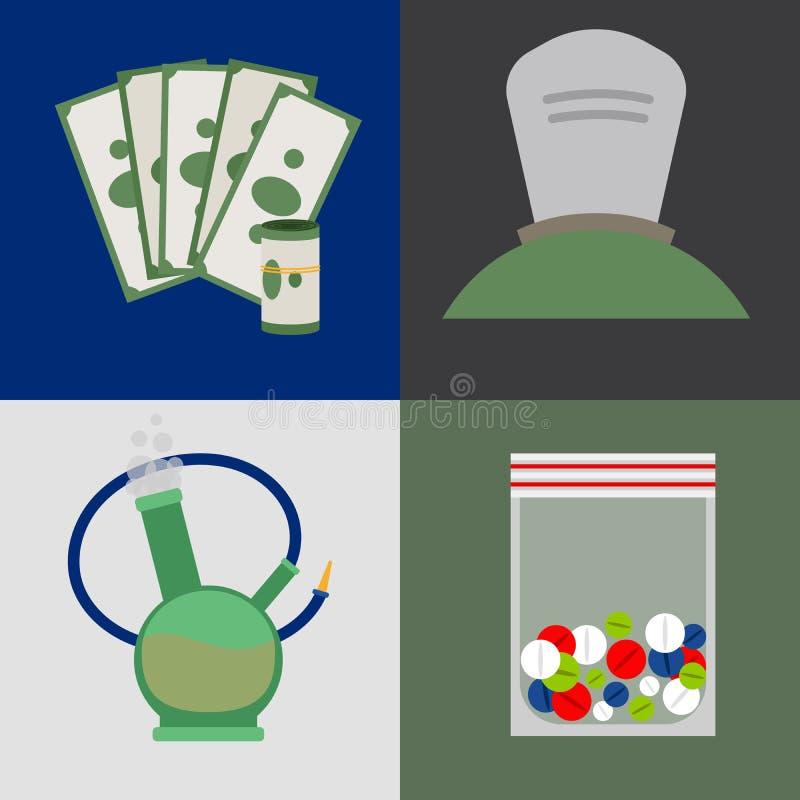 Icônes d'argent, de comprimés et de drogues illustration libre de droits