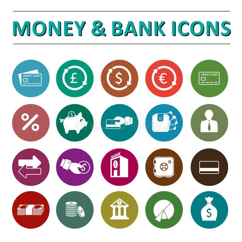 Icônes d'argent et de banque illustration stock