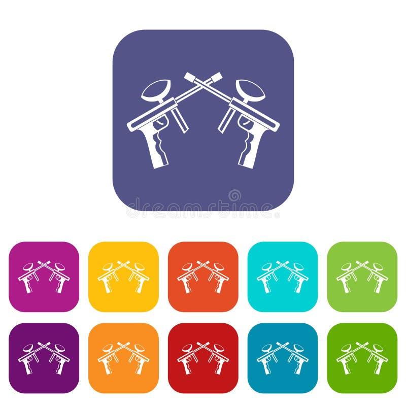 Icônes d'armes à feu de Paintball réglées illustration stock