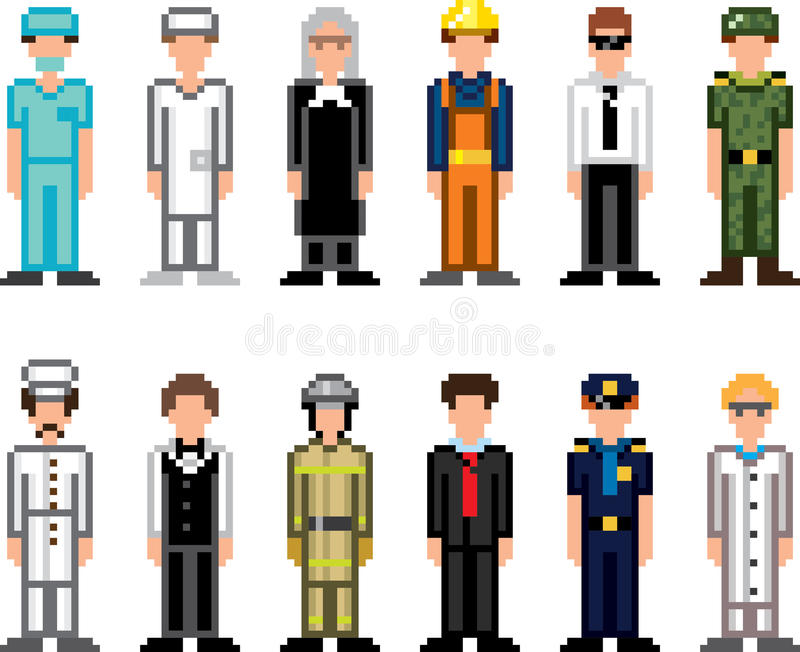 Icônes d'art de pixel de professions de personnes illustration de vecteur