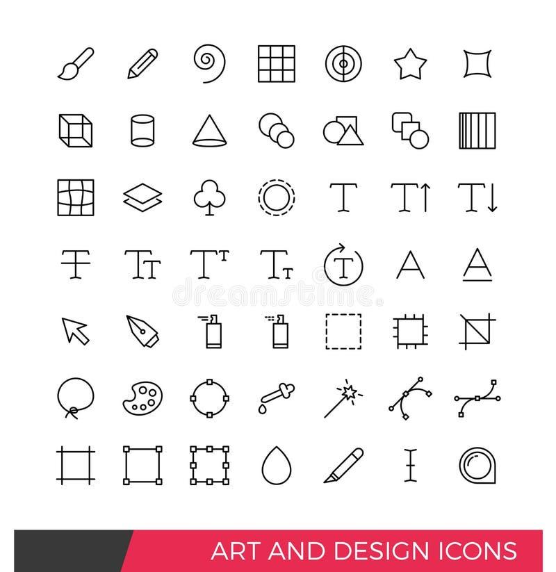 Icônes d'art et de conception illustration de vecteur