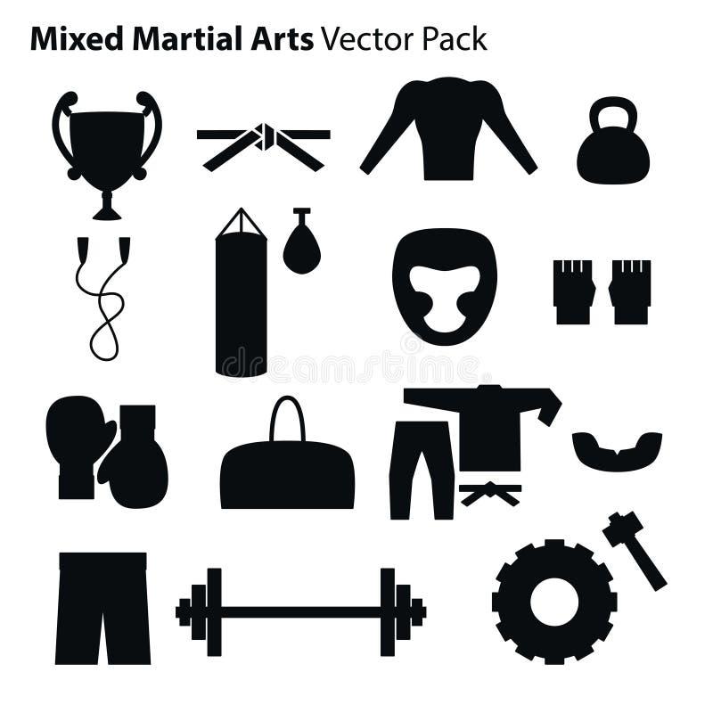 Icônes d'arts martiaux de mélange réglées illustration de vecteur