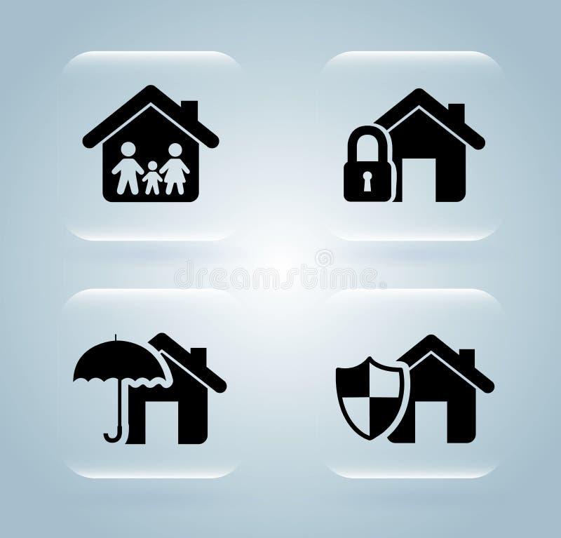 Icônes d'assurance illustration stock