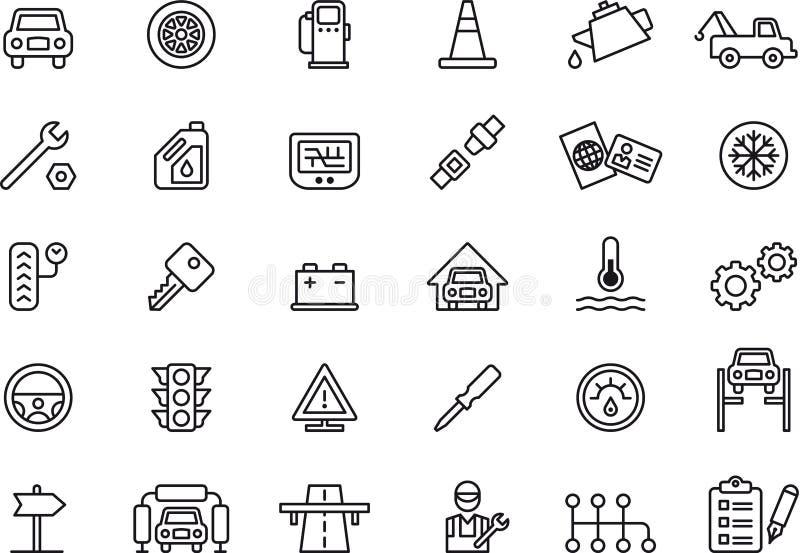 Icônes d'atelier de réparations de voiture illustration stock