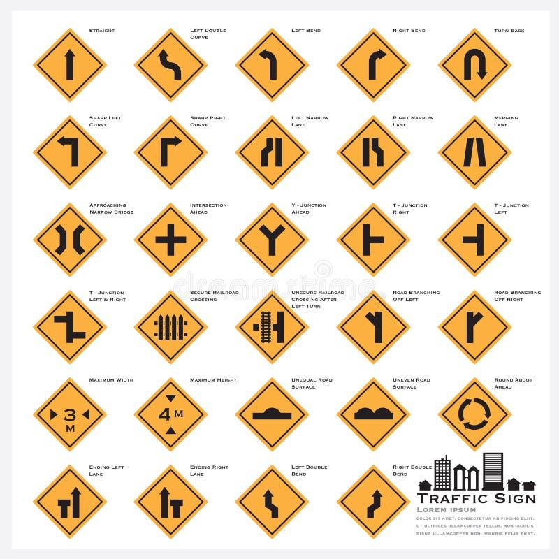 Icônes d'avertissement de poteau de signalisation de route et de rue réglées illustration stock
