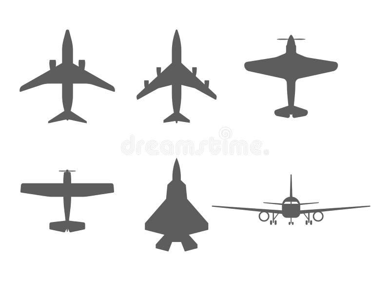 Icônes d'avion avion de passagers, avion de combat et illustration stock