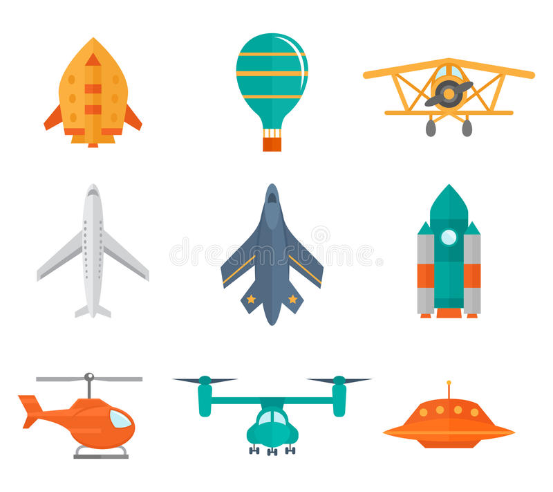 Icônes d'avions plates illustration stock