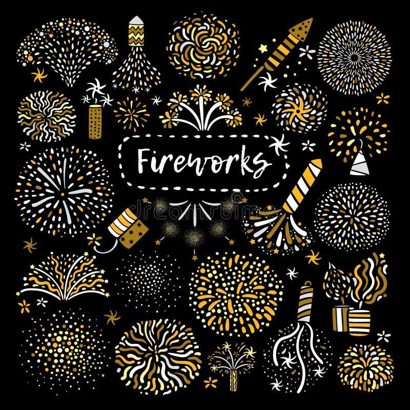 Icônes d'or de fête de feu d'artifice réglées illustration stock