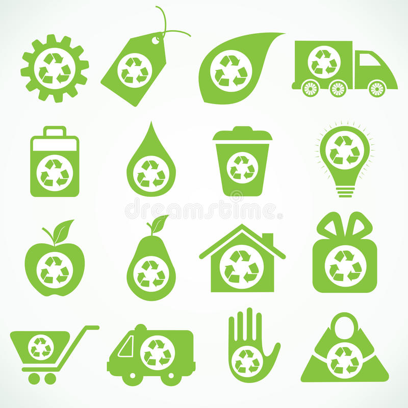 20 icônes d'eco illustration de vecteur