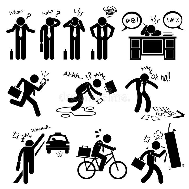 Icônes d'Emotion Feeling Action Cliparts d'homme d'affaires d'échouer illustration de vecteur