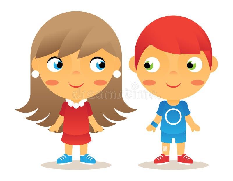 Icônes d'enfants de personnage de dessin animé de fille et de garçon illustration stock