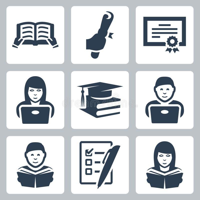 Icônes d'enseignement supérieur de vecteur réglées illustration de vecteur