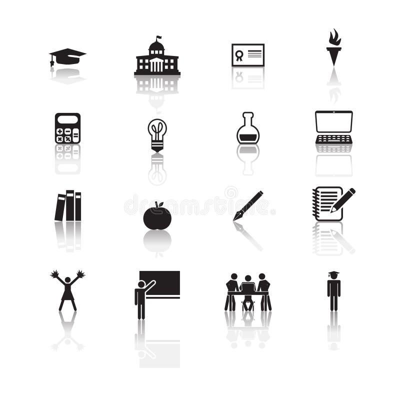 Icônes d'enseignement supérieur réglées illustration libre de droits