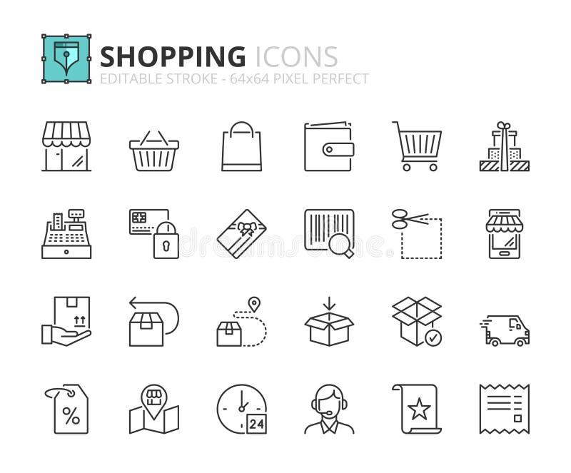 Download Icônes D'ensemble Au Sujet Des Achats Illustration de Vecteur - Illustration du cash, delivery: 87702515