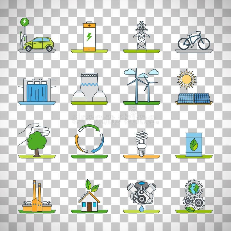 Icônes d'ensemble d'énergie renouvelable illustration de vecteur
