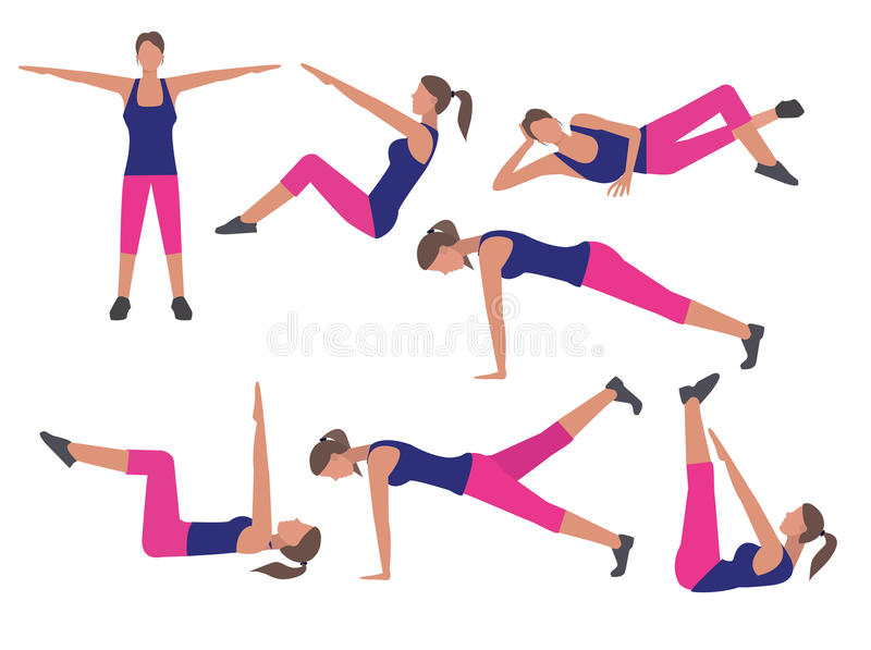 Icônes d'ensemble d'exercice de forme physique et de séance d'entraînement dans le style plat illustration de vecteur