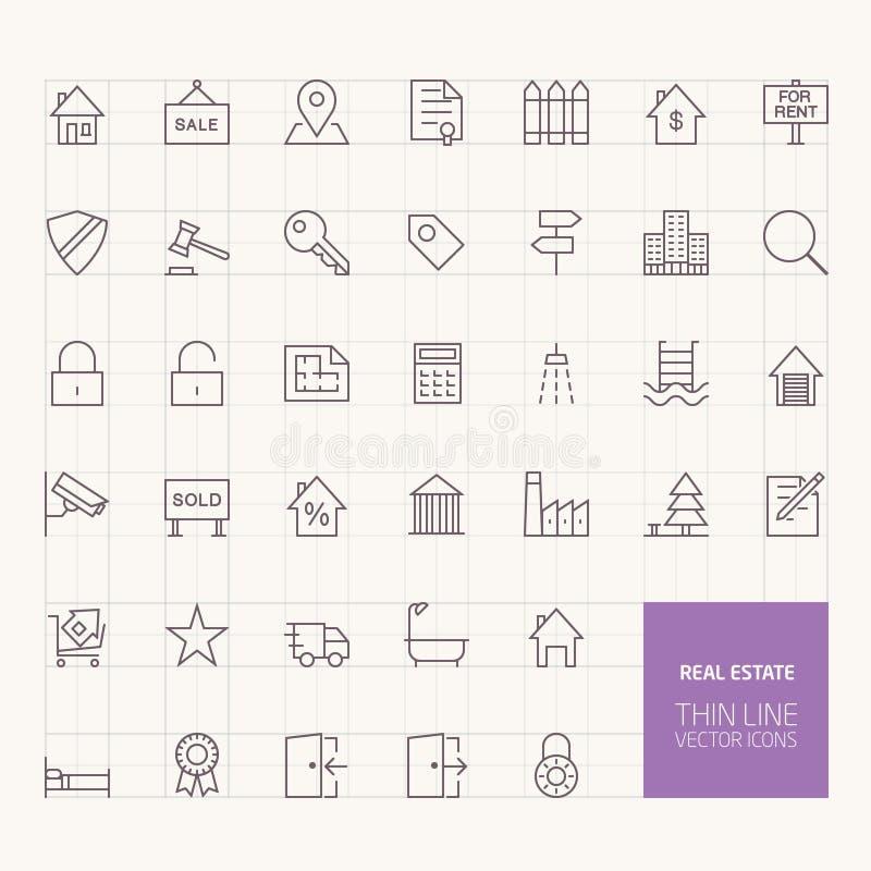 Icônes d'ensemble d'immobiliers illustration stock