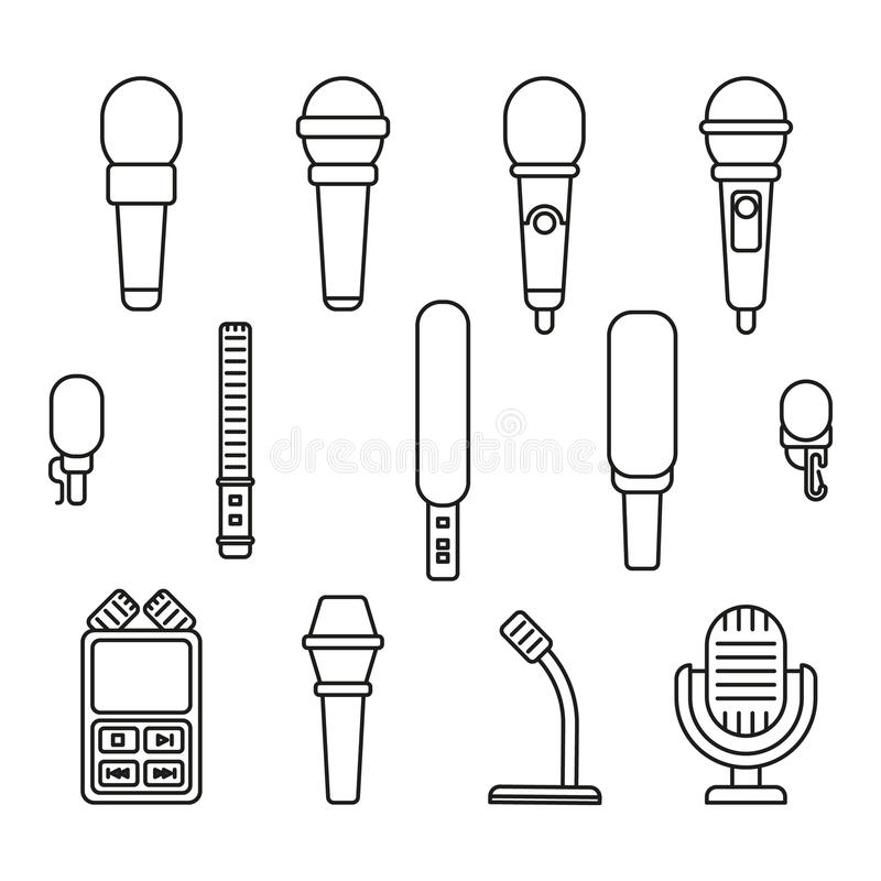 Icônes d'ensemble de microphones illustration stock