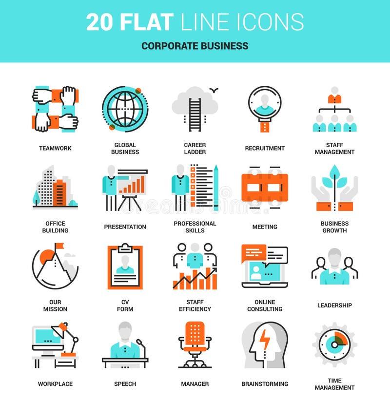 Icônes d'entreprise constituée en société illustration stock