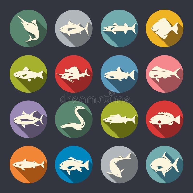 Icônes d'espèces de poissons illustration de vecteur