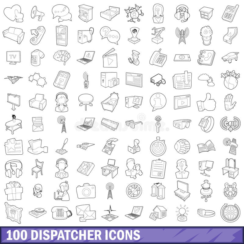 100 icônes d'expéditeur réglées, style d'ensemble illustration de vecteur