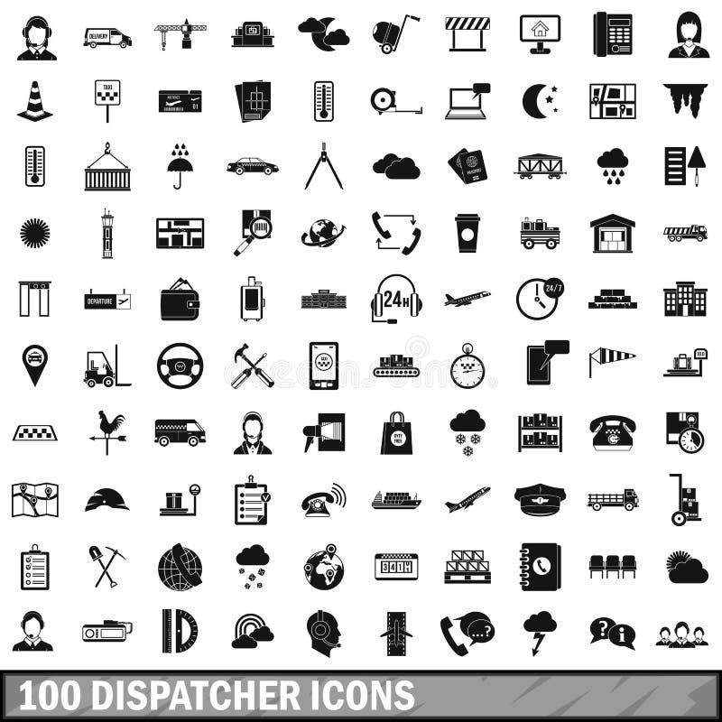 100 icônes d'expéditeur réglées, style simple illustration libre de droits