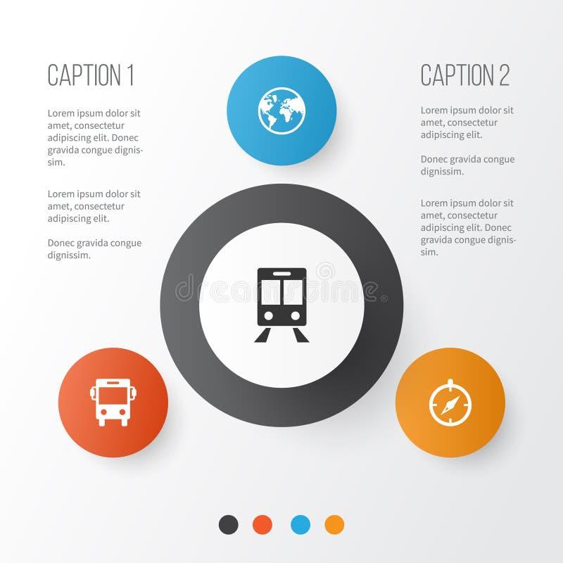 Icônes d'exploration réglées Collection de guide, de transport, de chariot ferroviaire et d'autres éléments Inclut également des  illustration de vecteur