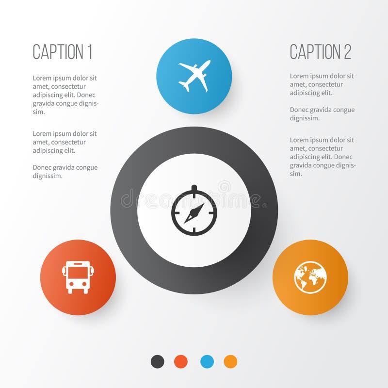 Icônes d'exploration réglées Collection de planète, terre, éléments de guide Inclut également des symboles tel l'avion, autobus illustration libre de droits
