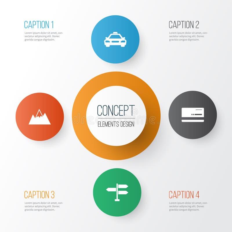Icônes d'exploration réglées Collection de voiture, de bâti, de direction et d'autres éléments Inclut également des symboles tel  illustration libre de droits