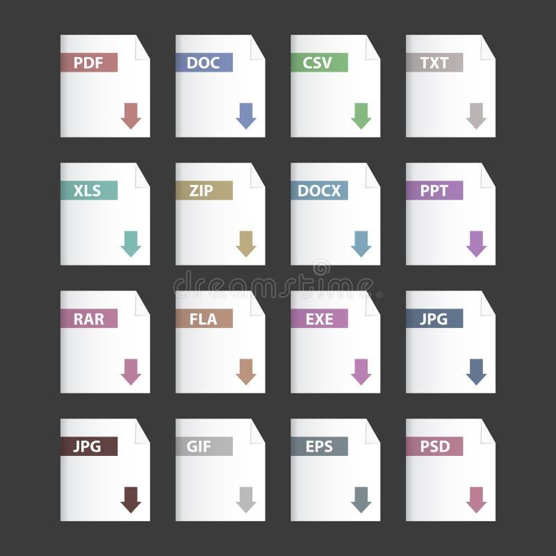 Icônes d'extensions du fichier de vecteur réglées illustration libre de droits