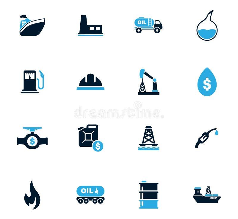 Icônes d'extraction du pétrole réglées illustration de vecteur