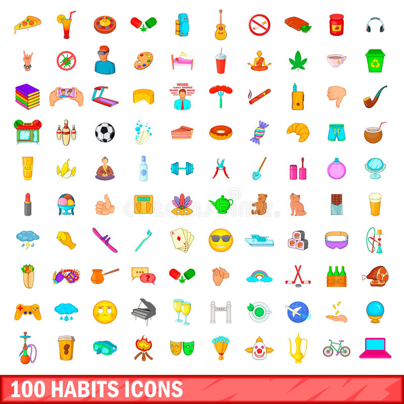 100 icônes d'habitudes réglées, style de bande dessinée illustration de vecteur