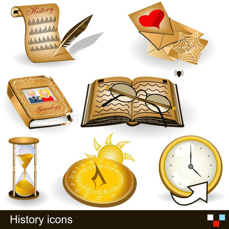 Icônes d'histoire illustration de vecteur