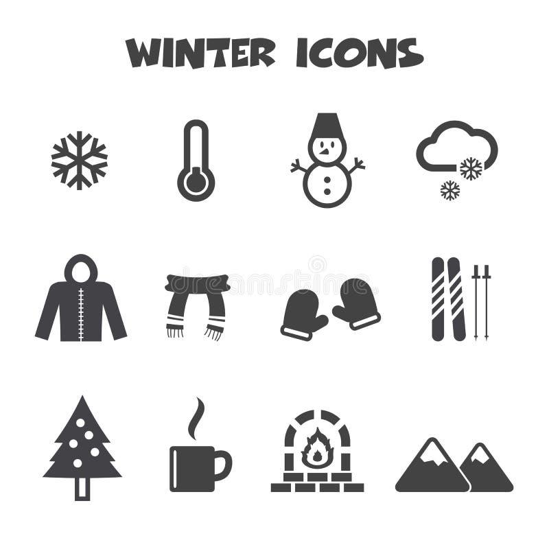 Icônes d'hiver illustration stock